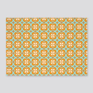 Orange, Aqua Retro 5'x7'Area Rug