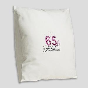 65 and Fabulous Burlap Throw Pillow