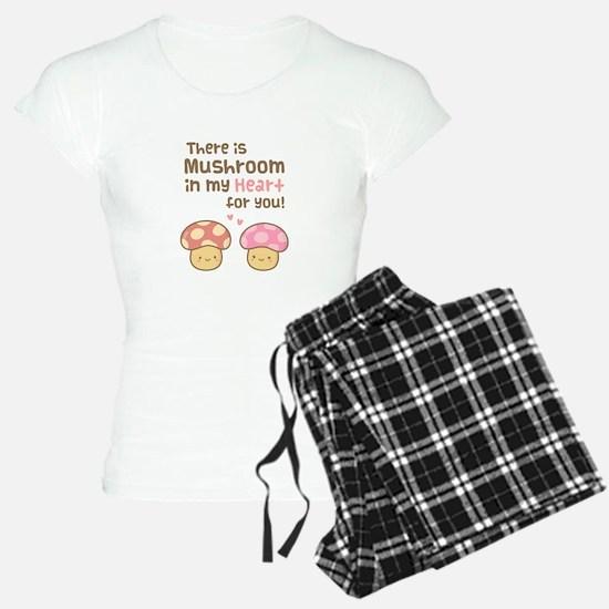 Cute Mushroom in my Heart Love Pun Pajamas