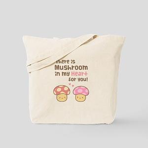 Cute Mushroom in my Heart Love Pun Tote Bag
