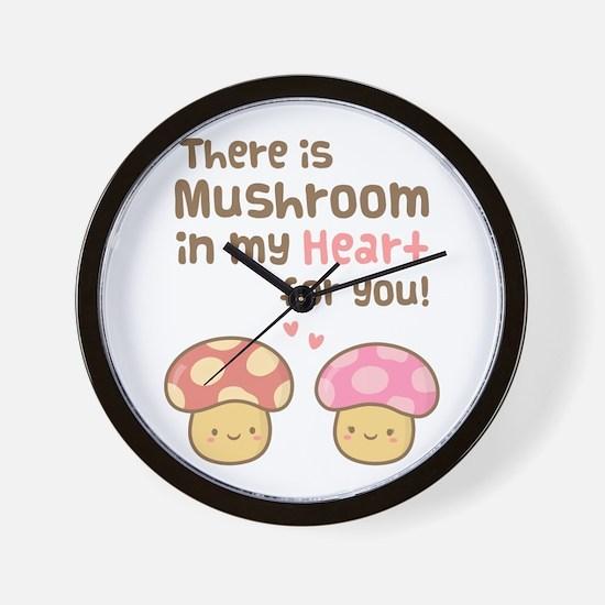 Cute Mushroom in my Heart Love Pun Wall Clock