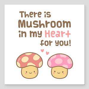 Cute Mushroom in my Heart Love Pun Square Car Magn