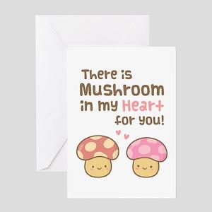 Cute Mushroom in my Heart Love Pun Greeting Cards