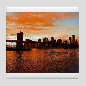 BROOKLYN BRIDGE MEMORIES Tile Coaster