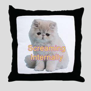 Screaming Internally Kitty Throw Pillow
