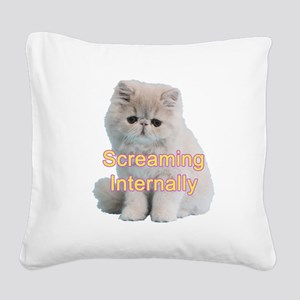 Screaming Internally Kitty Square Canvas Pillow