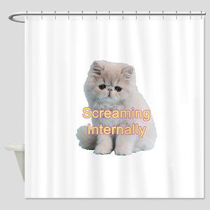 Screaming Internally Kitty Shower Curtain