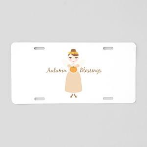 Autumn Blessings Aluminum License Plate