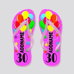 Colorful 30th Flip Flops