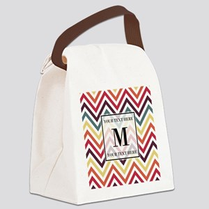 Chevron Pattern with Monogram Canvas Lunch Bag