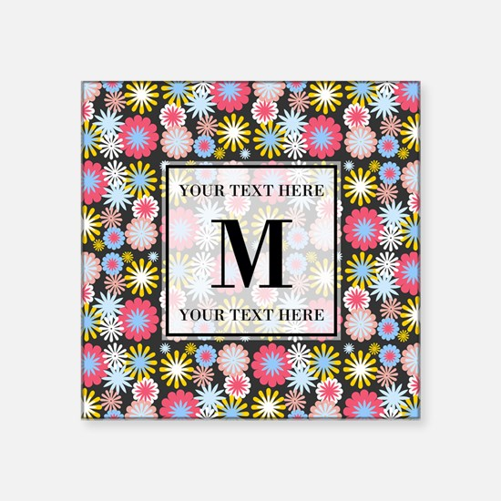 """Floral Pattern with Custom Square Sticker 3"""" x 3"""""""