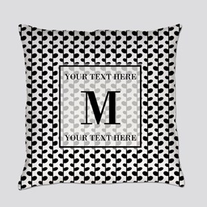 Black and White Leaves Pattern Mon Everyday Pillow