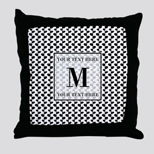 Black and White Leaves Pattern Monogr Throw Pillow
