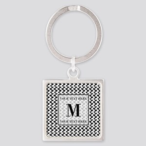 Black and White Leaves Pattern Mon Square Keychain