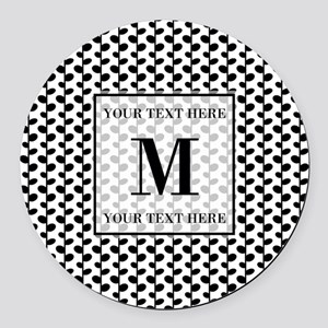 Black and White Leaves Pattern Mo Round Car Magnet