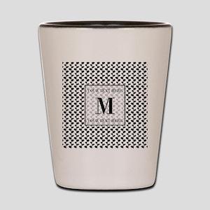 Black and White Leaves Pattern Monogram Shot Glass