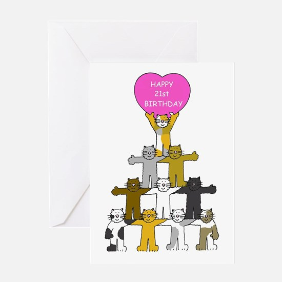Happy 21st Birthday Cats Greeting Cards