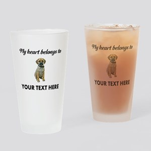 Personalized Puggle Drinking Glass
