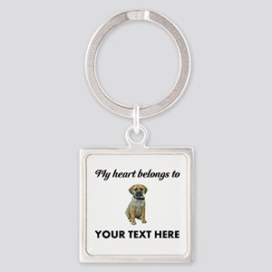 Personalized Puggle Square Keychain