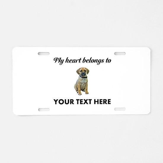 Personalized Puggle Aluminum License Plate