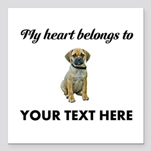 """Personalized Puggle Square Car Magnet 3"""" x 3"""""""