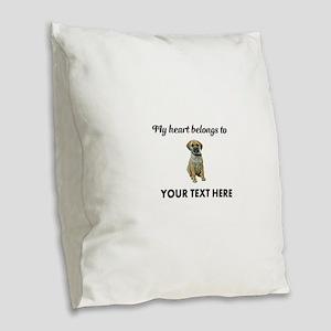 Personalized Puggle Burlap Throw Pillow