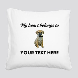 Personalized Puggle Square Canvas Pillow