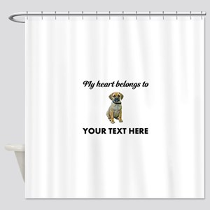 Personalized Puggle Shower Curtain