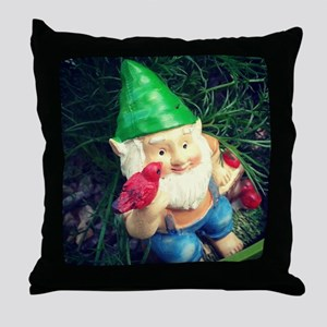 Gnome in the Chamomile Throw Pillow