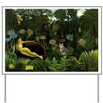 The cat in art painting Henri Rousseau Yard Sign