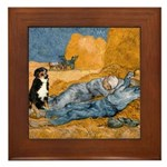 Dog in Van Gogh Painting Framed Tile