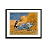 Dog In Van Gogh Painting Framed Panel Print