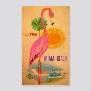 Miami Beach Pink Flamingo Vintage Travel Area Rug
