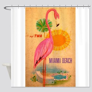 Miami Beach Pink Flamingo Vintage Travel Poster Sh