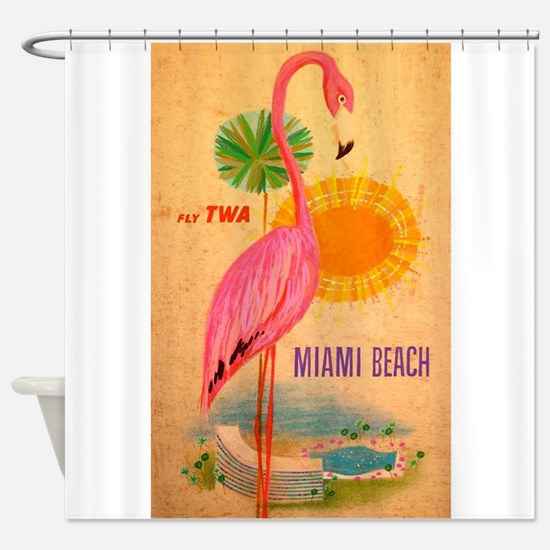Miami Beach Pink Flamingo Vintage Travel Poster Sh