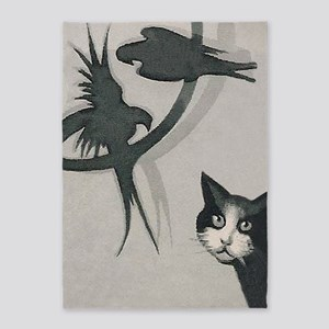 Cat And Birds Vintage Poster 5'x7'area Rug