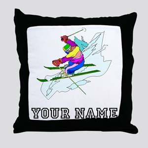 Skier (Custom) Throw Pillow