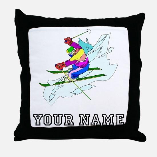 Skier (Custom) Throw Pillow