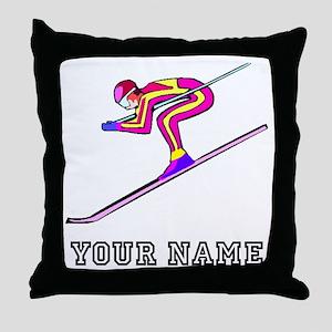Ski Racer (Custom) Throw Pillow