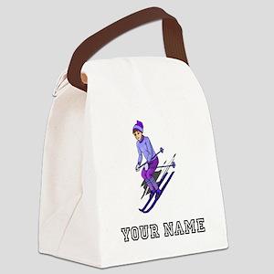 Girl Skiing (Custom) Canvas Lunch Bag
