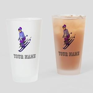 Girl Skiing (Custom) Drinking Glass