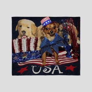Patriotic Pooch Throw Blanket