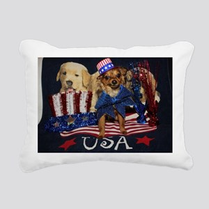 Patriotic Pooch Rectangular Canvas Pillow