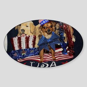 Patriotic Pooch Sticker (Oval)