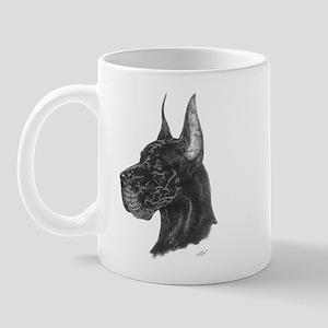 Black Great Dane in dots Mug