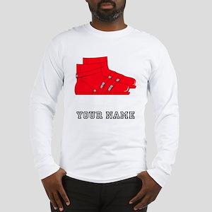 Red Ski Boots (Custom) Long Sleeve T-Shirt