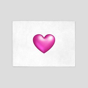 Pink Balloon Heart 5'x7'Area Rug