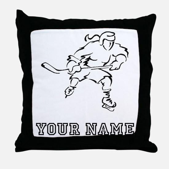 Girl Hockey Player (Custom) Throw Pillow