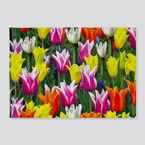 Multicolor Tulips 5'x7'Area Rug