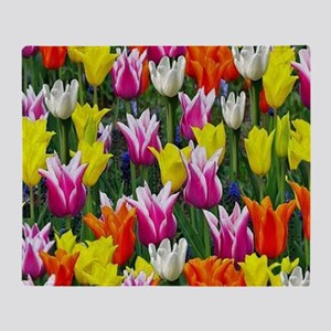Multicolor Tulips Throw Blanket